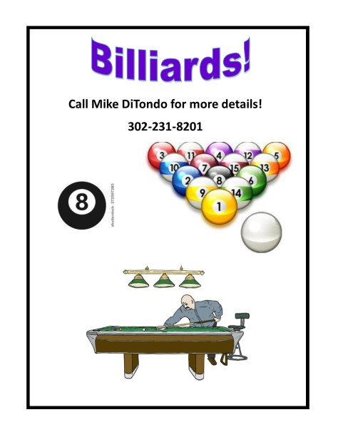 Billiards flyer with cartoons
